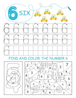 Schrijf nummers 6. six tracing worksheet met auto's voor jongen. voorschools werkblad, motorische vaardigheden oefenen - stippellijnen volgen.