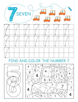 Schrijf nummers 7. seven tracing worksheet met auto's voor jongen. voorschools werkblad, motorische vaardigheden oefenen - stippellijnen volgen.