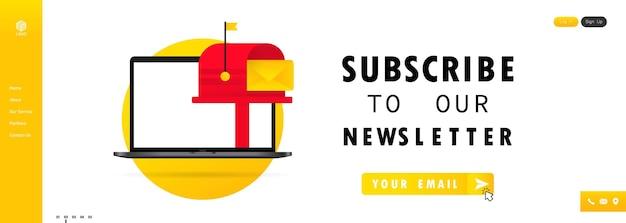Schrijf u in op onze nieuwsbriefbanner. aanmeldformulier met envelop, e-mailteken. vector op geïsoleerde witte achtergrond. eps 10