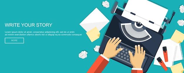 Schrijf uw verhaalbanner voor journalistiek