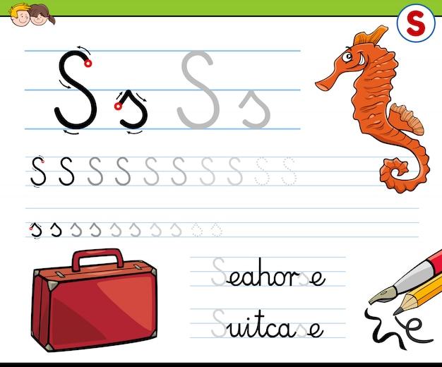 Schrijfblad letter s werkblad voor kinderen Premium Vector