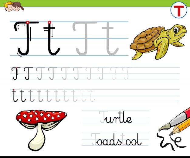 Schrijfblad letter t werkblad voor kinderen Premium Vector