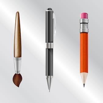 Schrijfgerei inclusief potlood, pen, penseel