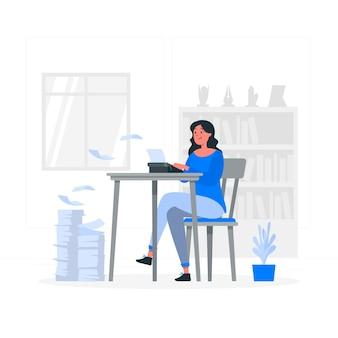 Schrijfmachine concept illustratie