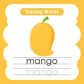 Schrijfoefening fruit en groente woorden alfabet traceren met m mango