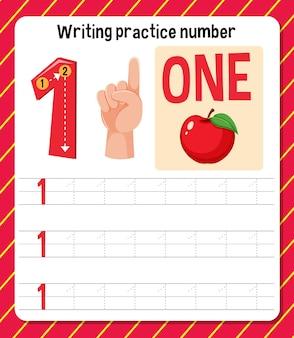Schrijfoefening nummer 1 werkblad