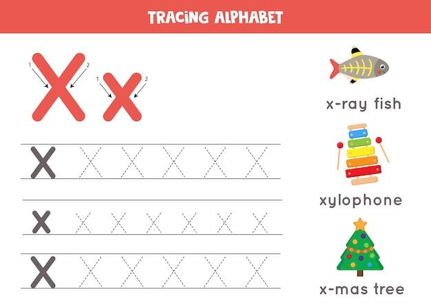 Schrijfoefening voor kinderen. alfabet overtrekwerkblad met alle az-letters. hoofdletters en kleine letters x traceren met schattige cartoon x-ray vis, xylofoon, kerstboom. educatief grammaticaspel.