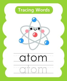 Schrijfoefening woorden alfabet traceren een - atoom