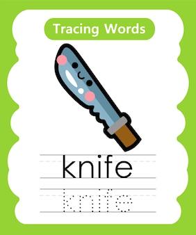 Schrijfoefening woorden alfabet traceren k - mes