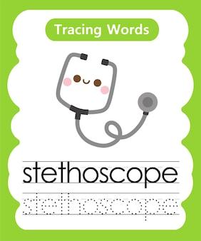 Schrijfoefening woorden alfabet traceren s - stethoscoop