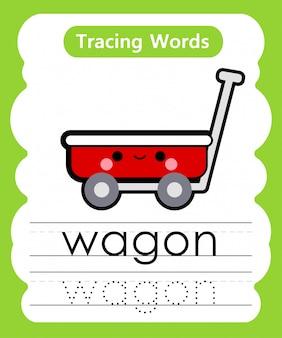 Schrijfoefening woorden: alfabet tracing w - wagon Premium Vector