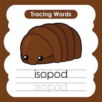 Schrijfoefening zeeleven mariene woorden alfabet traceren met i isopod
