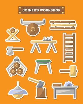 Schrijnwerkerij workshop meubels pictogrammenset in vlakke stijl
