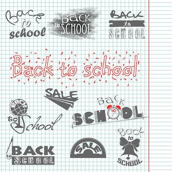 Schrijven in een notitieboekje. terug naar school. kalligrafische ontwerpen. uitverkoop. vectorset