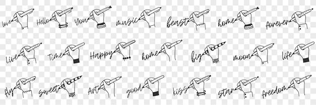 Schrijven van menselijke hand doodle set