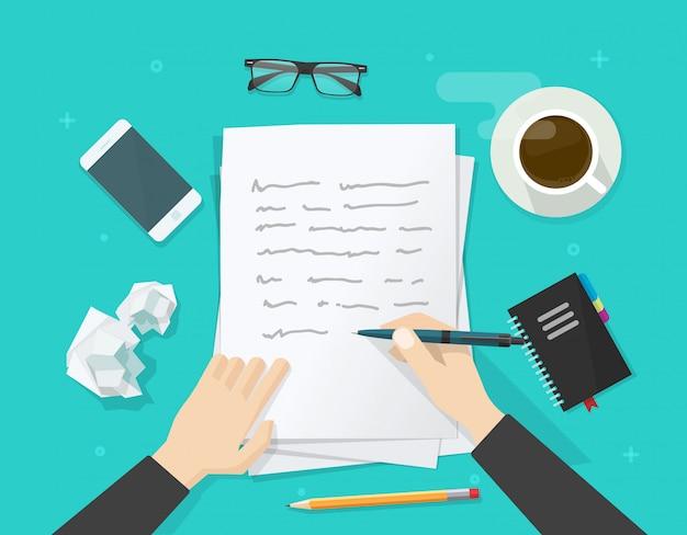 Schrijver die op document blad schrijft