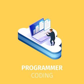 Schrijver programmeercode op computer bij grote cloud