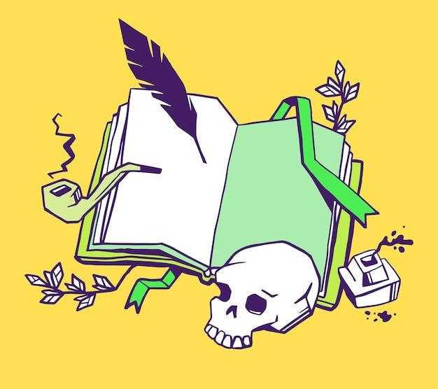 Schrijver van boekenconcept. creatieve illustratie van kleurenopeningsboek met bladwijzer, vogelveer, inktpot, rookpijp, menselijke schedel op gele achtergrond.