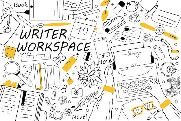 Schrijver werkruimte doodle set. verzameling van hand getrokken schetsen doodles.