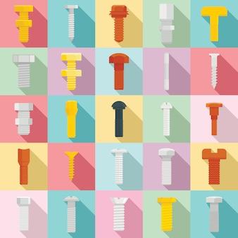 Schroef-bout iconen set, vlakke stijl