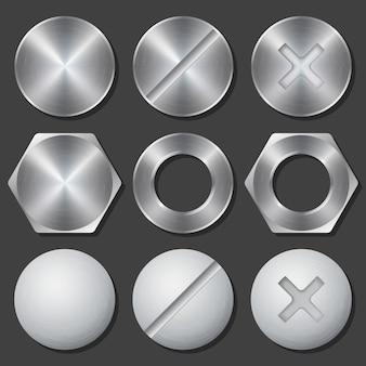 Schroeven, moeren en bouten realistische pictogrammen instellen. klinknagel en bout, kruiskop en zeskant, vaste versnelling, vectorillustratie