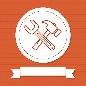 Schroevendraaier en hamer illustratie met decoratief lint