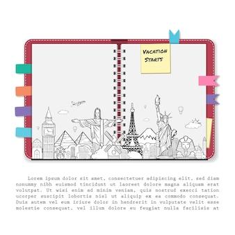 Schrootboekalbum, notitieboekje met reiselementen en toebehorenpictogram. doodle vliegtuig rond de wereld-concept.