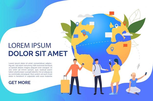 Schuif pagina met globe, reis en communiceer mensen