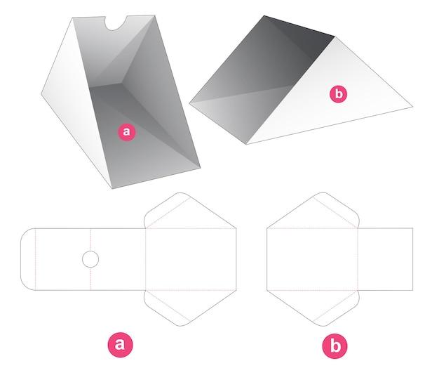 Schuifbare kartonnen driehoekige doos gestanst sjabloon