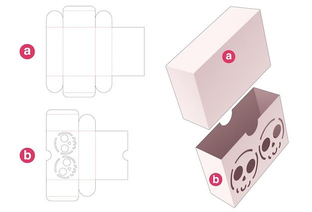 Schuifdoos met gestencilde schedel op gestanste omslagsjabloon