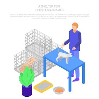 Schuilplaats dakloos dier concept, isometrische stijl