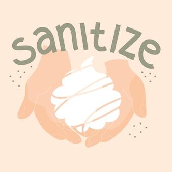 Schuim in twee handen citaat ontsmetten handen wassen preventie beschermen vectorillustratie
