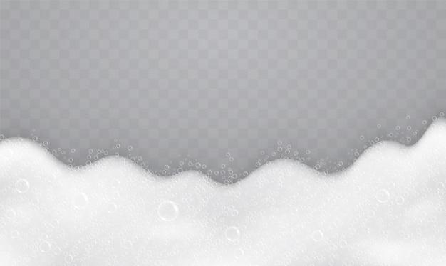 Schuim met zeepbellen, bovenaanzicht. stroom van zeep en shampoo.