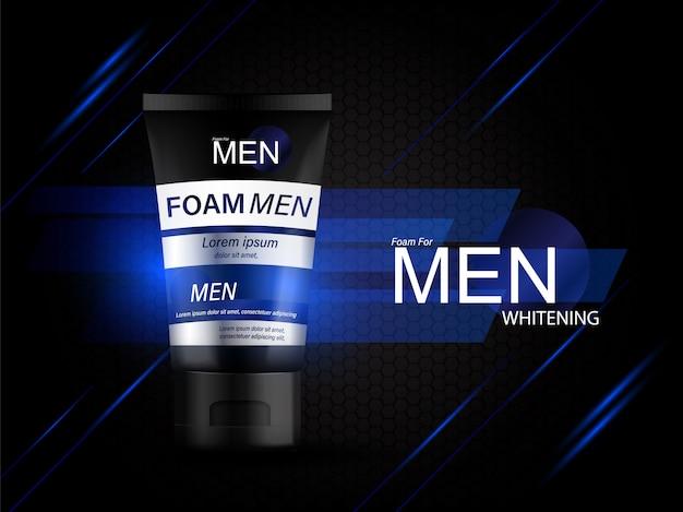 Schuim voor mannen flesproducten serumachtergrond voor huidverzorging cosmetica.