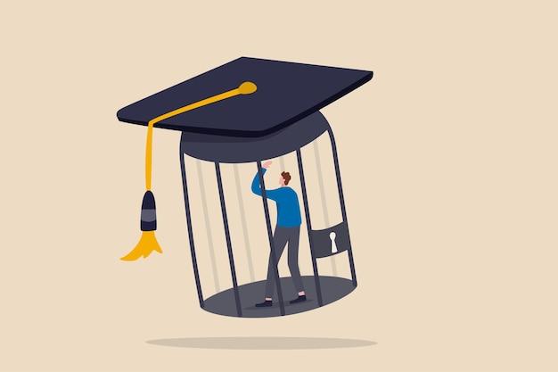 Schulden van studentenleningen, geldval dat afgestudeerd is, moet enorm veel geld terugbetalen.