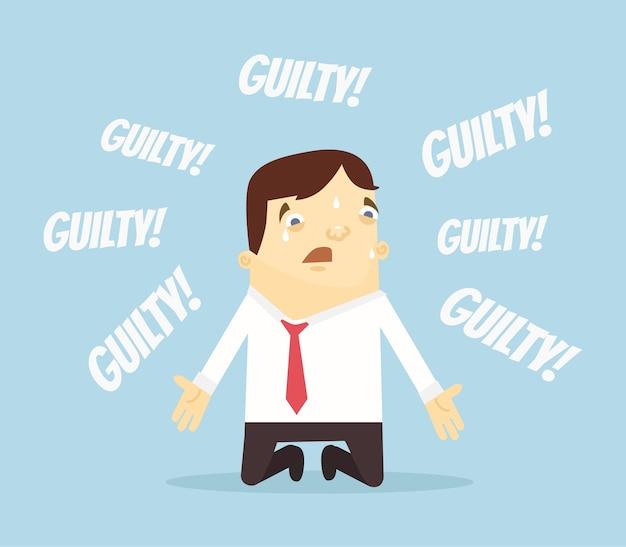 Schuldig kantoormedewerker man karakter.