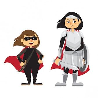 Schurk en ridder meisje illustratie