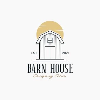 Schuur huis logo ontwerp concept illustraties met rustieke schuur