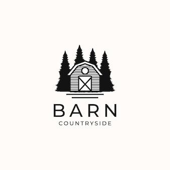 Schuur platteland vintage concept logo sjabloon geïsoleerd op witte achtergrond