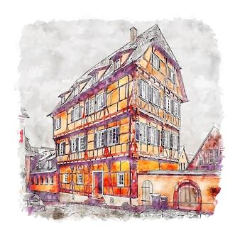 Schwäbisch hall duitsland aquarel schets hand getrokken illustratie