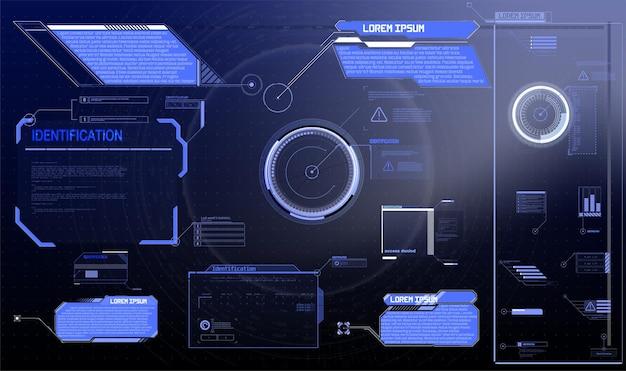 Sci-fi futuristisch hud-dashboard geeft virtual reality-technologiescherm weer. grote verzameling gui-elementen voor vr circle abstracte digitale technologie interface callouts titels en frame in sci-fi-stijl