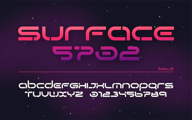 Sci-fi futuristische technologie alfabet, hoofdletters en cijfers.