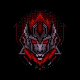 Sci-fi wolf geometry style