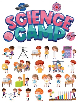 Science camp logo en set van kinderen met onderwijsobjecten geïsoleerd