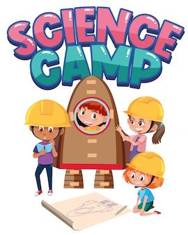 Science camp-logo met kinderen die ingenieurskostuum dragen
