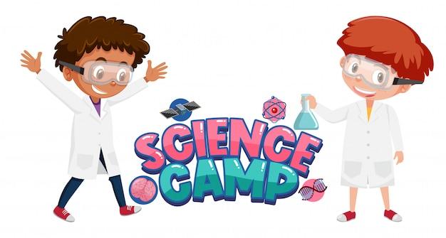 Science camp-logo met kinderen die wetenschapskostuum dragen