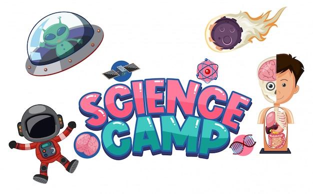 Science camp logo met wetenschappelijk onderwijs objecten geïsoleerd Premium Vector