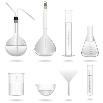 Science chemical lab-apparatuur. een set van apparatuur en gereedschappen voor wetenschappelijk chemisch laboratorium.