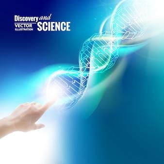 Science concept afbeelding van menselijke hand aanraken van dna.