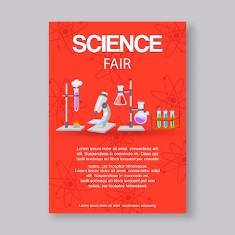 Science fair-tekstsjabloon en innovatie-expo. educatieve of wetenschappelijke evenementuitnodiging met microscoop, bekers en molecuulformule voor wetenschappers eerlijk voor natuurkunde, scheikunde.